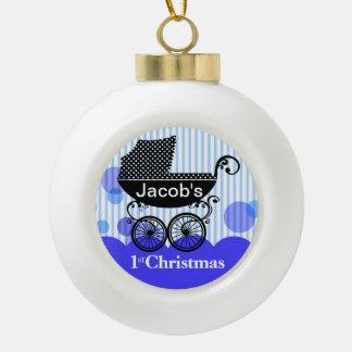 Baby's 1st Christmas Retro Carriage | blue Ceramic Ball Decoration