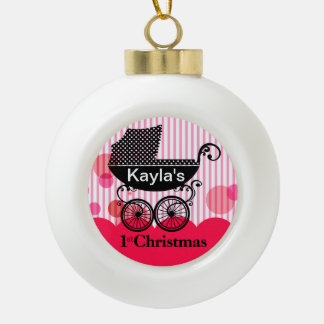 Baby's 1st Christmas Retro Carriage | hot pink Ceramic Ball Decoration