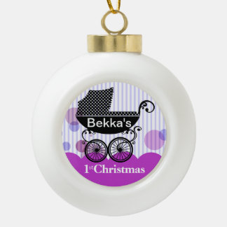 Baby's 1st Christmas Retro Carriage | lilac Ceramic Ball Decoration