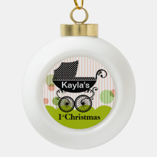Baby's 1st Christmas Retro Carriage | lime Ceramic Ball Decoration
