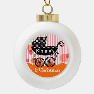 Baby's 1st Christmas Retro Carriage | orange Ceramic Ball Decoration