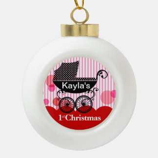 Baby's 1st Christmas Retro Carriage | red Ceramic Ball Decoration