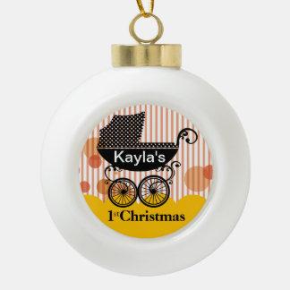 Baby's 1st Christmas Retro Carriage | yellow Ceramic Ball Decoration
