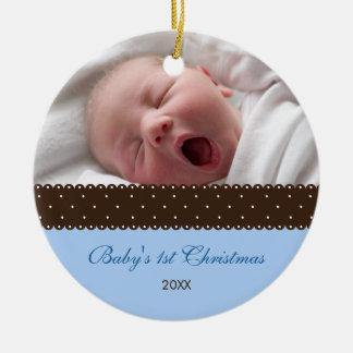 Baby's 1st Christmas - Ribbon (blue) Round Ceramic Decoration