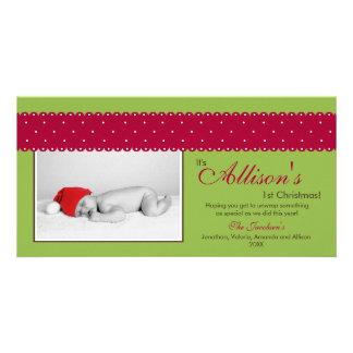 Baby's 1st Christmas Ribbon Photocard (green) Photo Card Template