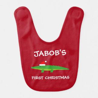 Baby's 1st Christmas Santa crocodile personalized Bib