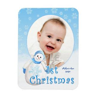 Baby's 1st Christmas Snowman Custom Magnet