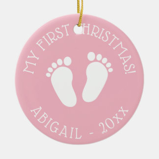 Baby's 1st Christmas tree cute footprints ornament