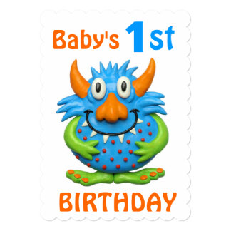 """Baby's 1st Monster Birthday Party 5"""" X 7"""" Invitation Card"""