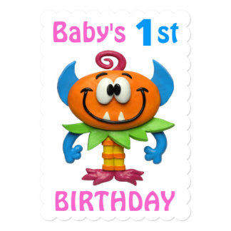 Baby's 1st Monster Party 13 Cm X 18 Cm Invitation Card