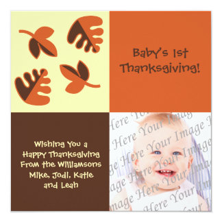 """Baby's 1st Thanksgiving Flat Photo Greeting Card 5.25"""" Square Invitation Card"""