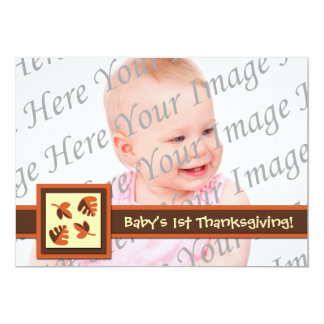 """Baby's 1st Thanksgiving Flat Photo Greeting Card 5"""" X 7"""" Invitation Card"""