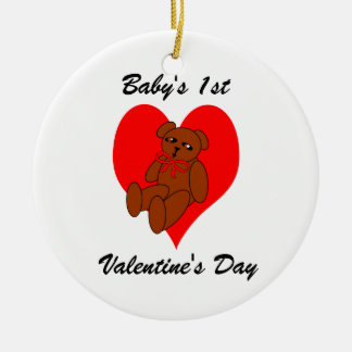 Baby's 1st Valentine's Orrnament Teddy Bear Heart Ornaments