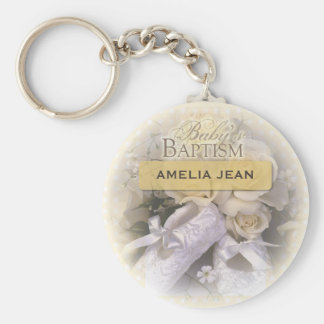 Baby's Baptism Neutral, Custom, Personalize, Ameli Basic Round Button Key Ring