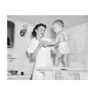 Baby's Bath, 1937 Canvas Print