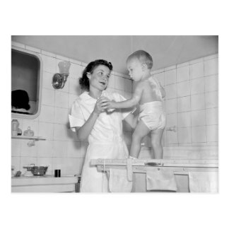 Baby's Bath, 1937 Postcard