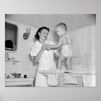 Baby's Bath, 1937. Vintage Photo Poster