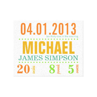 Baby's Birth Date Details Canvas - Circus