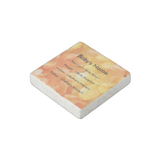 Baby's Birth Statistics with Yellow Floral Pattern Stone Magnet