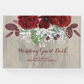 Baby's Breath and Burgundy Flowers Rustic Wedding Guest Book
