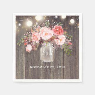 Baby's Breath and Pink Floral Mason Jar Rustic Paper Serviettes