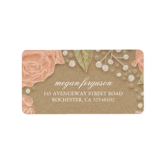 Baby's Breath and Pink Roses Wedding Address Label