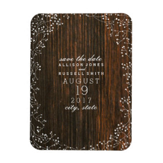 Baby's Breath Barn Wood Save The Date Magnet