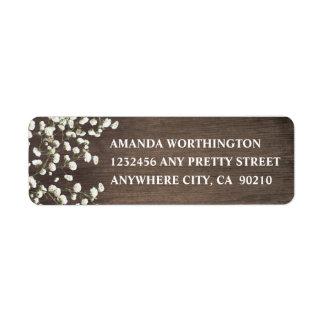 Baby's Breath Barn Wood Wedding Address Labels