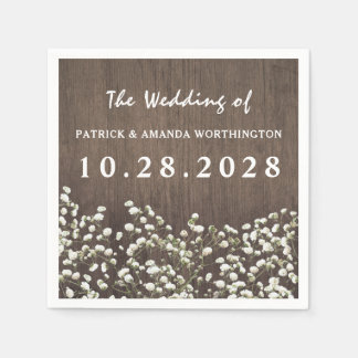 Baby's Breath Barn Wood Wedding Napkins Paper Serviettes