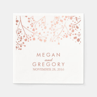 Baby's Breath Blush and White Floral Wedding Paper Napkin