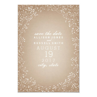 Baby's Breath Cardstock Inspired Save The Date 9 Cm X 13 Cm Invitation Card