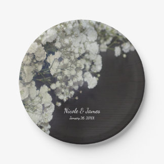 Baby's Breath & Dark Wood Elegant Floral Party Paper Plate