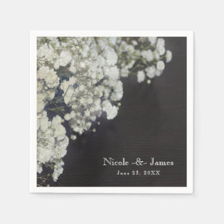Baby's Breath Floral & Dark Rustic Wood Party Disposable Serviettes