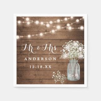 Baby's Breath Floral Mason Jar Rustic Wood Wedding Paper Napkins