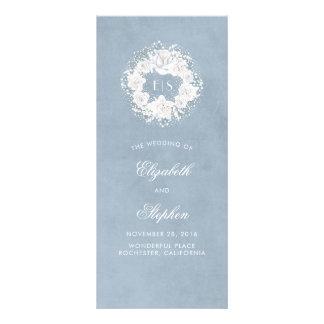 Baby's Breath Floral Monogram Dusty Blue Programs Rack Card