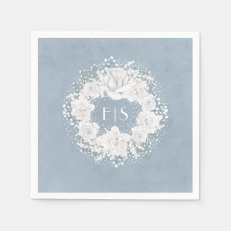 Baby's Breath Floral White and Dusty Blue Disposable Serviette