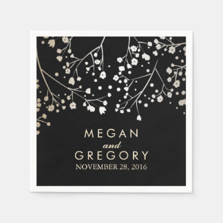 Baby's Breath Gold and Black Wedding Disposable Napkins