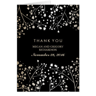 Baby's Breath Gold and Black Wedding Thank You Card