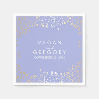 Baby's Breath Gold and Lavender Floral Wedding Disposable Napkin