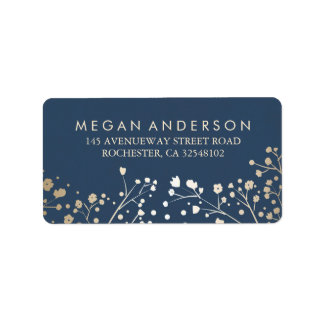 Baby's Breath Gold and Navy Wedding Address Label