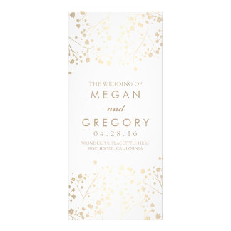 Baby's Breath Gold and White Wedding Programs Custom Rack Card