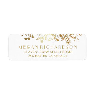 Baby's Breath Gold Floral Elegant Wedding Return Address Label