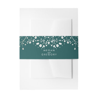 Baby's Breath Gold Foil and Teal Colors Wedding Invitation Belly Band
