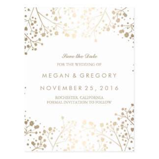 baby's breath gold foil effect save the date postcard