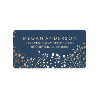 Baby's Breath Gold Foil Navy Wedding Address Label