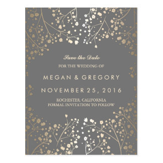 baby's breath gold foil save the date postcard