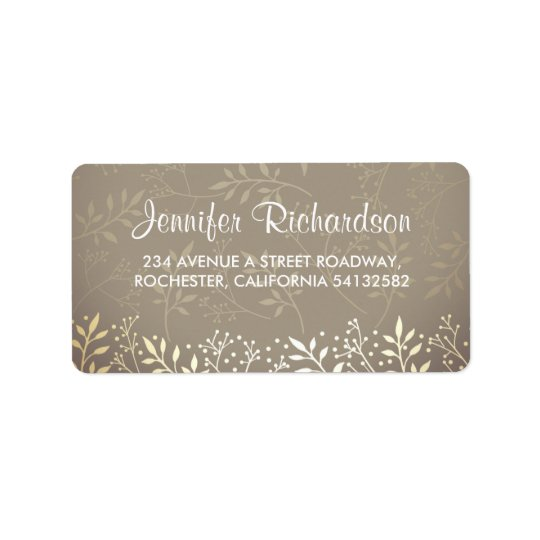 baby's breath gold foil wedding label