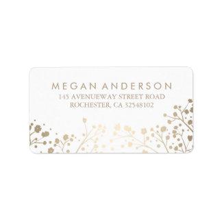 Baby's Breath Gold Foil White Wedding Address Label