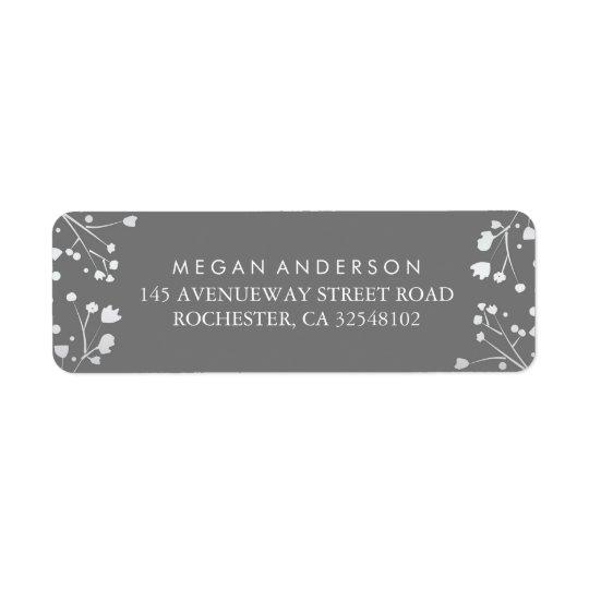 Baby's Breath Grey and Silver Wedding Return Address Label