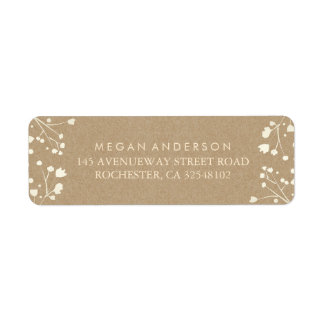 Baby's Breath Kraft Wedding Return Address Label